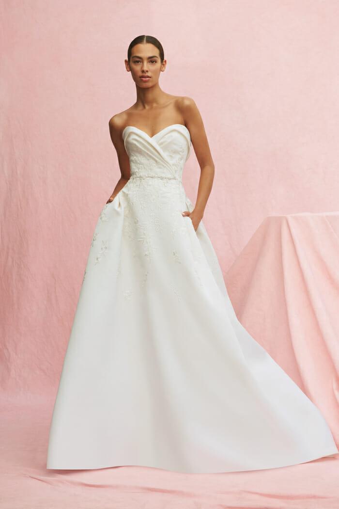 Carolina Herrera bridal gown bustier ball gown