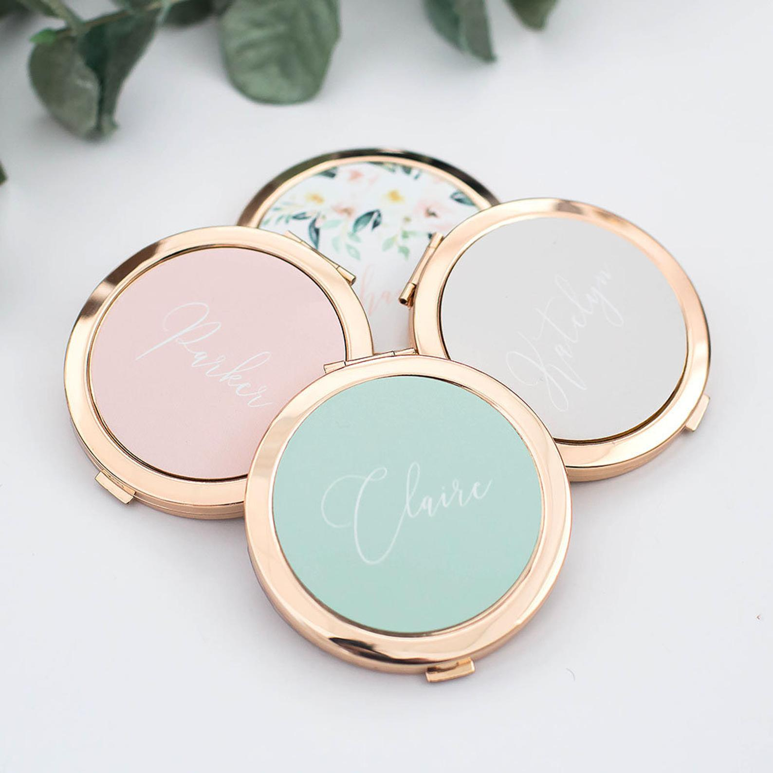 compact mirror personalized bridesmaid proposal gifts TheeeTwo1 wedding maid of honour