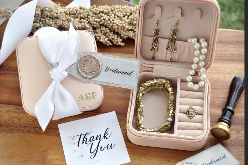 jewelry case bridesmaid gift travel necklace earrings set wedding