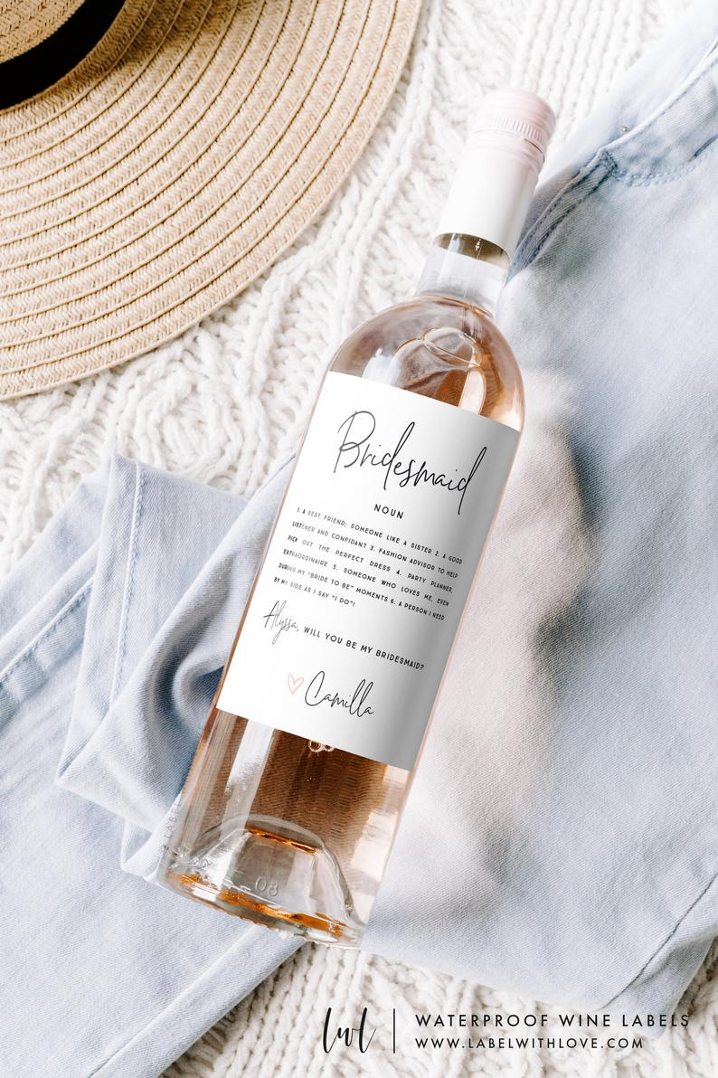 wine label personalized bridesmaid wedding bridal shower bachelorette party