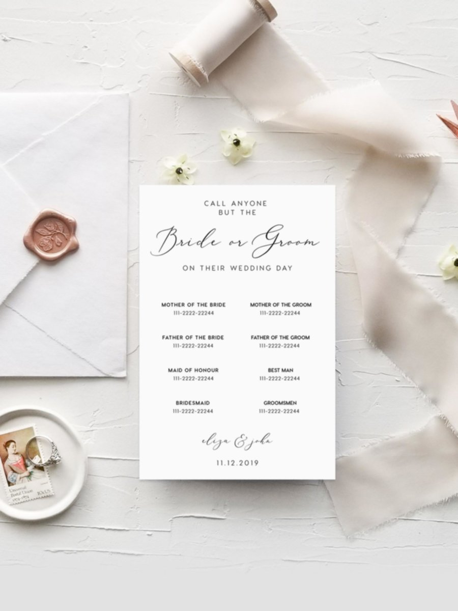 wedding contact information