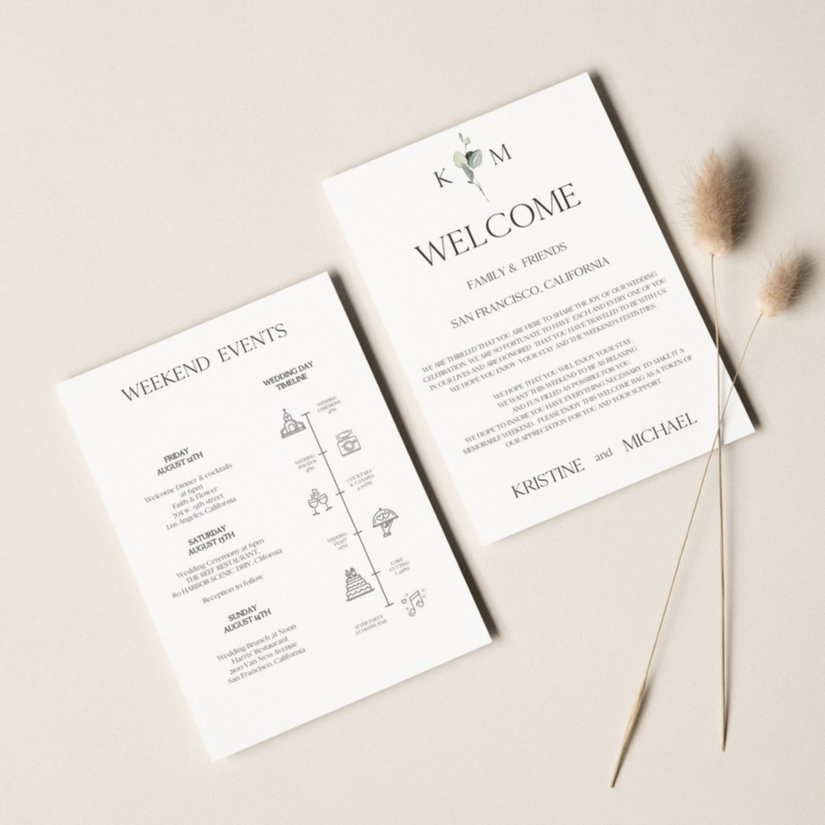 destination wedding timeline and welcome letter