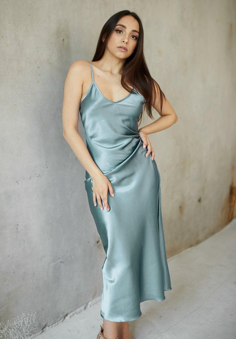 Bridesmaids slip dress silk